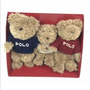 2002 Polo RALPH LAUREN Set of 3 Plush Teddy Bears